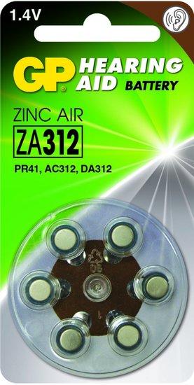 Zink Air hoorapparaat batterijen - ZA312-blister 6 stuks - GP