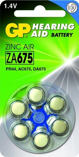 Zink Air hoorapparaat batterijen - ZA675-blister 6 stuks - GP