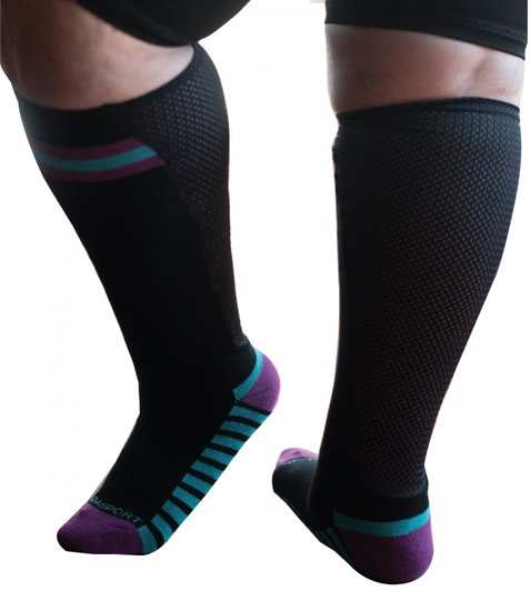 Sportsok met mesh panel  - zwart - paars 41 - 43 - XpandaSport