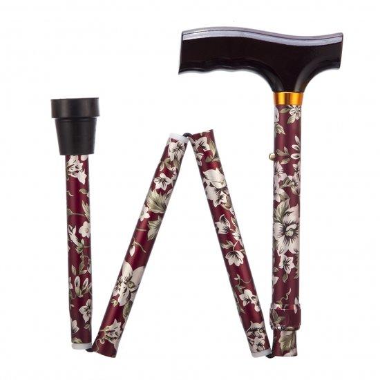Opvouwbare wandelstok - burgundy 84 -94 cm