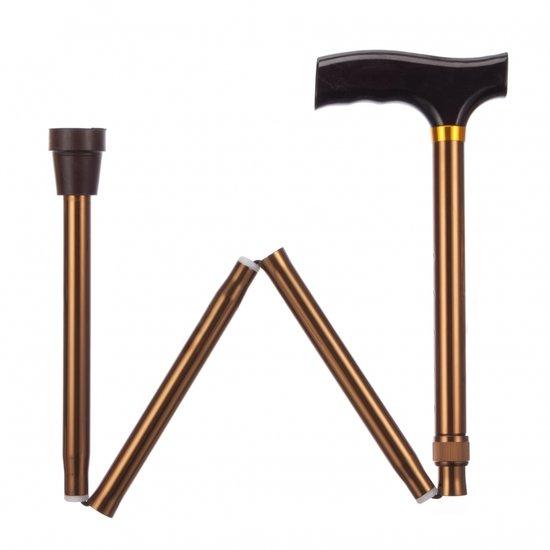 Opvouwbare wandelstok - brons 84 - 94 cm