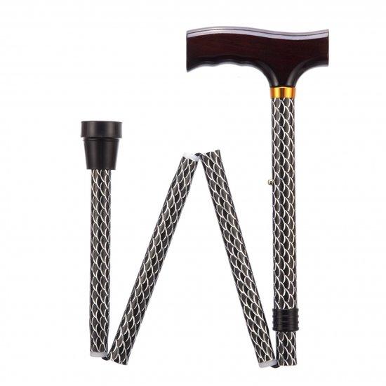 Opvouwbare wandelstok - Etched Black 76 - 89 cm