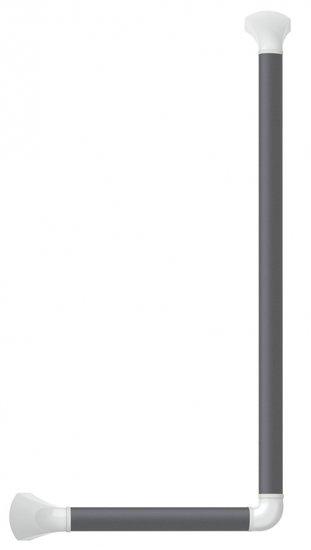 Wandbeugel zwart-grijs met afdekkappen in hoogglans wit - 90 graden gehoekt 60 x 30 cm - SecuCare