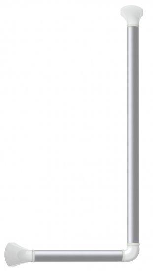 Wandbeugel zilverkleurig met afdekkappen in mat wit - 90 graden gehoekt 60 x 30 cm - SecuCare