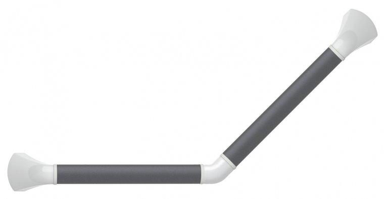 Wandbeugel zwart-grijs met afdekkappen in hoogglans wit - 45 graden gehoekt 30 x 30 cm - SecuCare