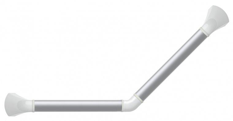 Wandbeugel zilverkleurig met afdekkappen in hoogglans wit - 45 graden gehoekt 30 x 30 cm - SecuCare