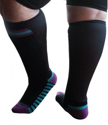 Sportsok met mesh panel  - zwart - paars 35 - 41 - XpandaSport
