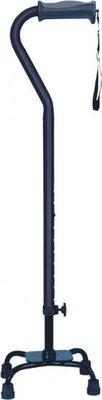 Vierpoot wandelstok verstelbaar - klein - zwart - Hugo