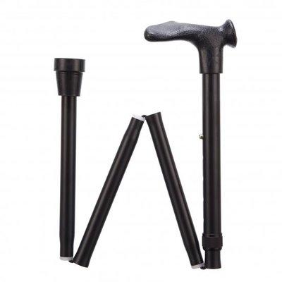 Opvouwbare wandelstok comfortgrip - zwart links